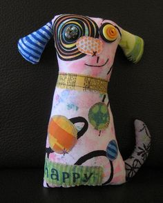 Unique Dog Art Doll, OOAK Original Design, Textile Mixed Media Art Doll, Colorful Hand painted printed fabrics, Puppy Dog Lover gift, HAFAIR by WickedlyCreative on Etsy https://www.etsy.com/listing/246053351/unique-dog-art-doll-ooak-original-design