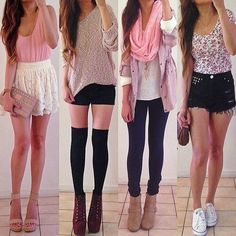 Teen fashion outfits pink and black <33 and can't forget the floral patterns!!