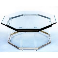 Charles Hollis Jones Lucite and Brass Coffee Table