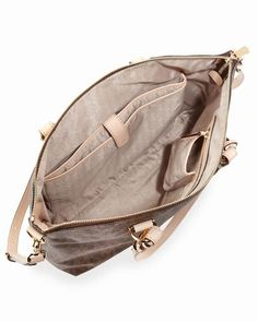106f92196894c Michael Kors Jet Set Logo Multifunktions-Tasche Brown Logo Pvc 0   womensbags jewellery