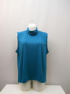 PLUS SIZE 3X Womens Knit Top SALON STUDIO Solid Teal Mock Turtle Neck Sleeveles #SalonStudio #Turtleneck #Career