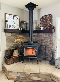 Wood Stove Surround, Wood Stove Hearth, Stove Fireplace, Fireplace Remodel, Fireplace Design, Fireplace Ideas, Corner Fireplaces, Fireplace Pictures, Modern Fireplaces