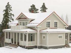 Suomen kauneimpia koteja - Kannustalo Exterior Paint Colors For House, House Colors, Farmhouse Addition, Terrace Design, Victorian Homes, Old Houses, My Dream Home, My House, House Plans