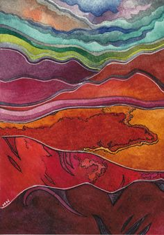 Title: Landscape 1  Dimensions 5 x 7 inches  Media: watercolor and ink on paper  Year : 2011    Vivid colors will draw you into this mysterious land of soaring mountains and hidden valleys.