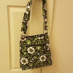 Vera Bradley hipster bag Green black and white over the shoulder bag with tags. Never used. Vera Bradley Bags Satchels