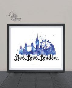 London Print, London watercolor Painting, London Poster, London Gift, London…