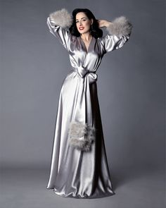 """🌟Introducing the first collector's piece for the Dita Von Teese Collection by Catherine D'Lish! The """"Holiday Gown"""". This luxurious dressing gown is. Fashion Mode, Fashion Outfits, Womens Fashion, Dita Von Teese Style, Feminine Mode, Bridal Nightgown, Christmas Lingerie, Vintage Glamour, Up Girl"""