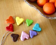 Rainbow Sculpey garland