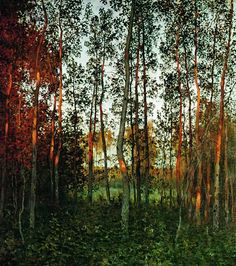 The last rays of the sun. Aspen forest, 1897, Isaak Levitan. #russia #art #drawing #levitan