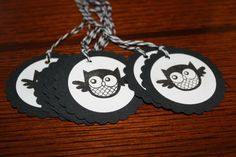 Very cute black and white round owl tags! Check them out at www.AmbersScrapbooksEtc.etsy.com