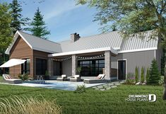 Discover the plan - Olympe 2 from the Drummond House Plans house collection. Total living area of 1212 sqft. Craftsman Farmhouse, Craftsman Style House Plans, Farmhouse Style, Modern Farmhouse, 2 Bed House, Tiny House, House Floor, Farm House, Modern Garage Doors