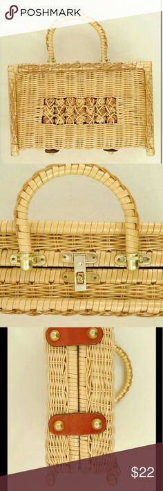 """Vintage Wicker Box Woven Basket Purse sku: a375 color: Light tan.  ?size: Outside dimensions are 11"""" by 7 1/4"""" by 4"""".? Handle stands almost 5"""" from top of purse.? Inside width is 8 3/4"""".?  ?fabric: Not listed.? It appears to be natural materials covered in a shiny sealant.? It has metal closures and feet and genuine-feeling leather accents at the bottom.? The inside is lined in a synthetic material. condition: Excellent vintage condition.  ?description:  It opens at the top and has two inner…"""