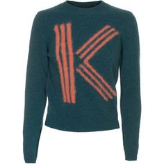 Kenzo Letter Green Cropped Wool Pullover