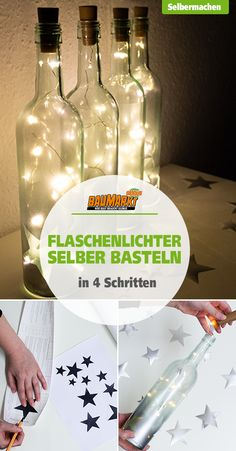 Flaschenlichter selber basteln lights can not only be attached to the tree or window, but are used in disused wine bottles as the # decoration highlight for the party or the New Year's Eve party Diy Party Decorations, Decoration Table, Diy Wedding Lighting, Xmas Lights, String Lights, The Bride, Bottle Lights, New Years Eve Party, How To Make Paper
