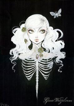 Cartel Ribcaged Ilustración surrealismo pop por BlackUnicornShop