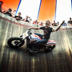 The legendary Charlie Ransom taking on the Wall of Death with a custom 2015 Indian #Scout during #Sturgis2014. Doesn't get cooler than this.