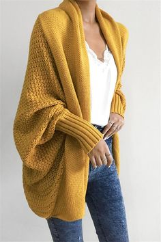 Chellysun Pavacat Colbie Dolman Cardigan - Yellow / S Yellow Cardigan Outfits, Cardigan Casual, Knit Cardigan, Oversized Cardigan Outfit, Cardigan Fashion, Mustard Yellow Cardigan, Cocoon Cardigan, Open Cardigan, Sweater Coats
