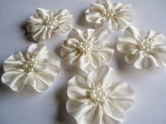Handmade Ivory Ribbon Flower Appliques by BizimSupplies on Etsy, $9.00