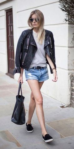 Cute cutoffs outfit idea: with a basic tee, sneakers, and leather jacket (click for 17 others!)