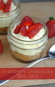 Strawberry Cheesecake Mini Jars via momendeavors.com