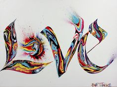 Painting of the word LOVE in graffiti styled calligraphy letters featuring 80s style marble swilrs of neon acrylic paint with splatters - Shane Turner Art
