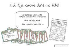 Pour changer un peu, un petit jeu de calcul mental! 3 étapes, additives et/ou soustractives, plus ou moins difficiles (passage à la dizaine, nombres à 2 chiffres...) 20 cartes, donc, et 1 fiche de trace écrite. Je pense ajouter un joli crayon qu'ils ne...