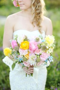Roses and peonies, bridal bouquet, boho whimsy // j.woodbery photography