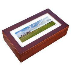 Stonehouse Mahogany Cigar Humidor -- Famous Golf Courses - KIAOC18H