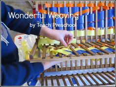 Wonderful weaving tool and process for preschool...think I could make a few weaving boards pretty easy, if I remember ahead of time...
