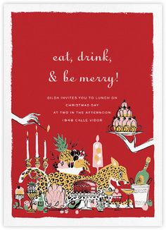A Sunday Supper - Red holiday invitation - Charlotte Olympia for Paperless Post. Eat, Drink, & be merry !