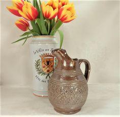 Salt Glaze Stoneware Jug Vintage Rustic Cross-Hatch Design Pottery Interiors Home Decor by BelieveToBeBeautiful on Etsy