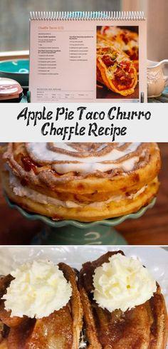 Apple Pie Taco Churro Chaffle Recipe - Low Carb Inspirations #churrocheesecakeDip #churrocheesecakeVideo #churrocheesecakeGlutenFree #churrocheesecakeBites #churrocheesecakeEggRolls Churro Cheesecake, Cheesecake Bites, Ceylon Cinnamon Powder, Cheese Waffles, Taco Fillings, Small Baking Dish, Vanilla Bean Ice Cream, Apple Filling, Churros