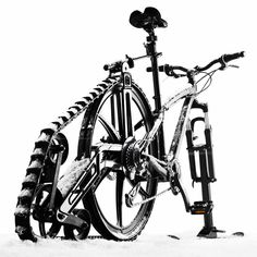 Turn Your Bicycle Into A Snowmobile with Ktrak Mountain Bike Accessories, Bicycle Accessories, Bicycle Parts, Buy Bicycle, Bike Kit, Motorized Bicycle, Fat Bike, Bicycle Components, Winter Sports