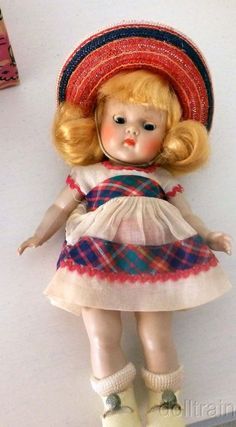 1953 GINNY DOLL #41 JUNE TINY MISS  DOLL IN  BOX RARE BROWN-BLUE  CIRCLED EYES