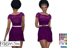 Belted Ruffle Flare Dress at NyGirl Sims via Sims 4 Updates