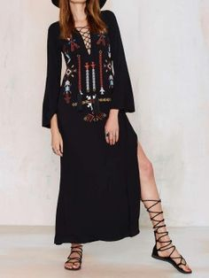 Shop Black Embroidery Lace Up Front Slit Side Maxi Dress from choies.com .Free shipping Worldwide.$44.99