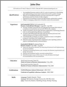 Writing a business analyst resume comes with a lot of challenges because the role implies a variety of responsibilities and skills. Resume Summary Examples, Resume Cover Letter Examples, Professional Resume Examples, Cover Letter For Resume, Resume Skills, Resume Tips, Business Writing, Resume Writing, Curriculum Vitae Examples