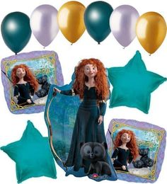 """Included in this bouquet: 11 Balloons Total 1 – Merida Shape Balloon 2 – """"Brave"""" Square Balloons 2 – Turquoise Star Balloons 6 - Mixed Latex B Brave Disney Princess, Disney Princess Birthday, Princess Balloons, Second Birthday Ideas, Kids Party Games, Super Party, Balloon Bouquet, Princesas Disney, Birthday Decorations"""