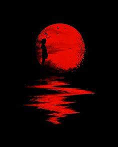 Nicebleed (Francis and Laurence Minoza) illustration - little girl in red sunset Art Rouge, Plakat Design, Moon Images, Red Images, Red Pictures, Bing Images, Blood Moon, Blood Art, Beautiful Moon