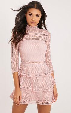 007358e8c6 Caya Dusty Pink Lace Panel Tiered Mini Dress Dusty Pink Dresses