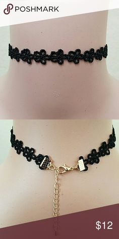 Floral Choker Black/Gold Jewelry Necklaces