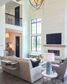Get This Look: Modern Farmhouse Living Room – Farmhouse Fireplace Mantels Modern Farmhouse Living Room Decor, Farmhouse Living Room Furniture, Modern Farmhouse Style, Living Room Modern, My Living Room, Living Room Designs, Rustic Farmhouse, Small Living, Farmhouse Ideas