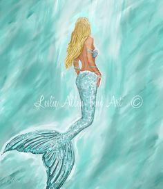 "Mermaid Art Print Mermaid Painting Mermaid Decor Mermaids Siren Beach Art Ocean Mermaid Decor  ""MERMAID AQUAMARINE"" Leslie Allen Fine Art by LeslieAllenFineArt on Etsy"