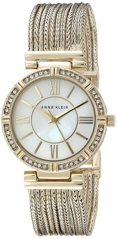Anne Klein Women's AK/2144MPGB Swarovski Crystal Accented Gold-Tone Chain Bracelet Watch ** More info could be found at the image url.