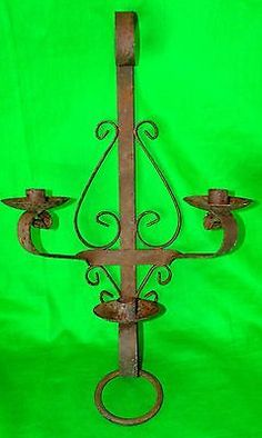 Antique Gothic Mid evil Cast Iron Wall Sconce Heavy Metal CANDLE SCONCE MID EVIL