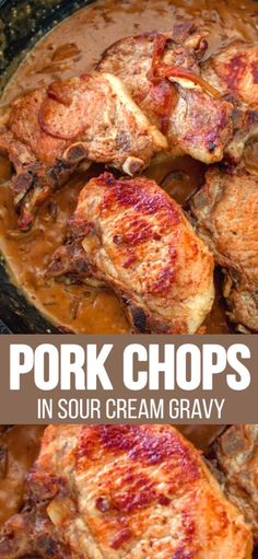 """Pork Chops in Sour Cream Gravy is one of those very easy recipes that's an """"Oh my gosh"""" dinner. It's all in the gravy kids. Take ordinary pork chops and kick them up just by perking up the gravy. # Easy Recipes pork PORK CHOPS IN SOUR CREAM GRAVY Ground Meat Recipes, Pork Recipes, Cooking Recipes, Easy Recipes, Recipes For Pork Chops, Quick Pork Chop Recipes, Pork Meals, Spinach Recipes, Diet"""