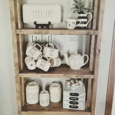 Open shelving decor/rae dunn pottery