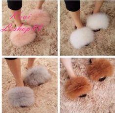 1a95d5b61 Hot Luxury Women Real Fox/Raccoon Fur Sliders Flat Slippers Indoor Outdoor  Shoes | eBay