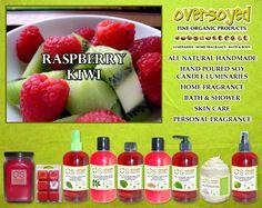 Raspberry Kiwi Product Collection - Sun ripened raspberries with sweet kiwi with subtle hints of summer melon. #OverSoyed #RaspberryKiwi #ExoticFruits #Exotic #Fruity #Fruit #Candles #HomeFragrance #BathandBody #Beauty
