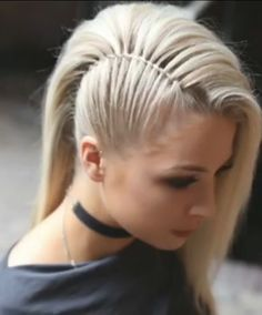 This is better than shaving half of your head , saving your hair and it looks so. # Braids updo faces This is better than shaving half of your head , saving your hair and it looks so. Braided Updo, Braided Hairstyles, Wedding Hairstyles, Braided Faux Hawk, Mohawk Braid, Braid Hair, Rocker Hairstyles, Faux Hawk Updo, Faux Hawk Hairstyles